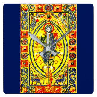 Relógio Quadrado Arte popular bizantina Jesus