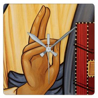 Relógio Quadrado Arte religiosa do sinal de mão