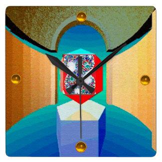 Relógio Quadrado Arte surreal do Fractal do TEMPLO do CAOS E da
