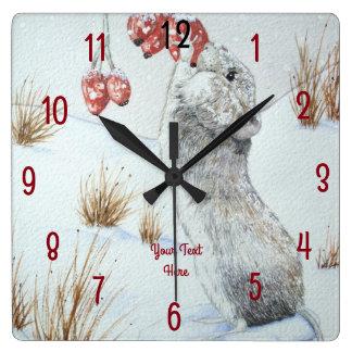 Relógio Quadrado Arte vermelha dos animais selvagens da cena da