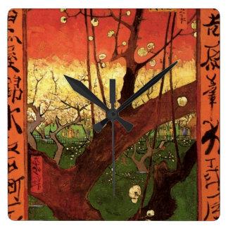 Relógio Quadrado Árvore de ameixa de florescência japonesa de Van