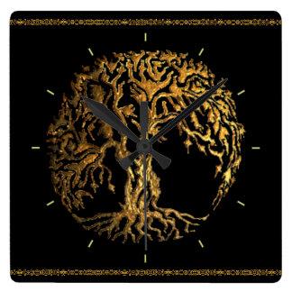Relógio Quadrado Árvore de Mehndi de vida (ouro)