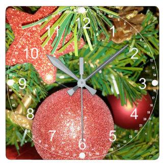 Relógio Quadrado Árvore e enfeites de natal de Natal