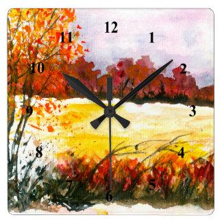 Relógio Quadrado Árvores abstratas do outono da arte da paisagem da