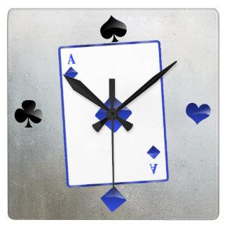 Relógio Quadrado Ás de diamantes azul/de pulso de disparo terno do