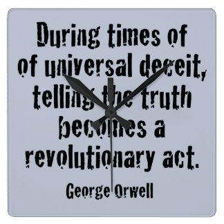 Relógio Quadrado As matérias da verdade, resistem o trunfo