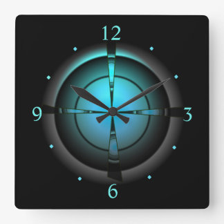 Relógio Quadrado Atmosférico no verde/Aqua/preto > no pulso de