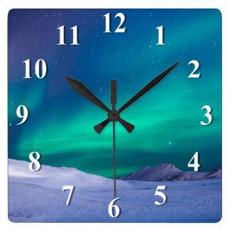 Relógio Quadrado Aurora boreal da Aurora
