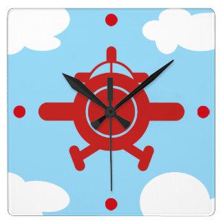 Relógio Quadrado Avião no céu