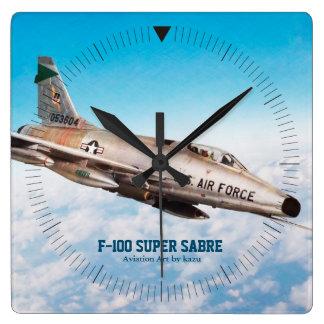 """Relógio Quadrado Aviation Art Wall Clock""""F-100 Super Sabre"""""""