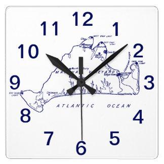 Relógio Quadrado Azuis marinhos do mapa #1 do vintage do Martha's