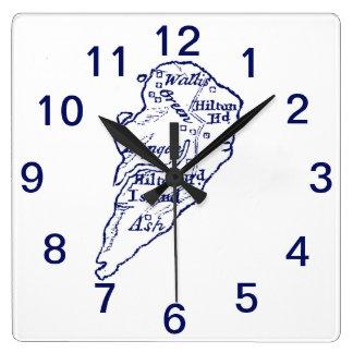 Relógio Quadrado Azuis marinhos do mapa do vintage do SC de Hilton