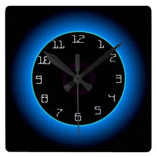 Relógio Quadrado Azul/Aqua iluminados no pulso de disparo de parede