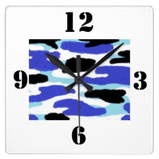 Relógio Quadrado Azul da camuflagem, grandes números preto e branco