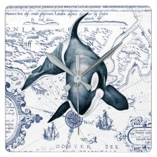 Relógio Quadrado Azul do mapa da orca