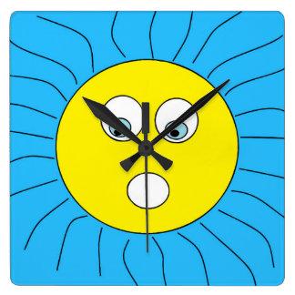 Relógio Quadrado Azul surpreendido legal do design de Sun da