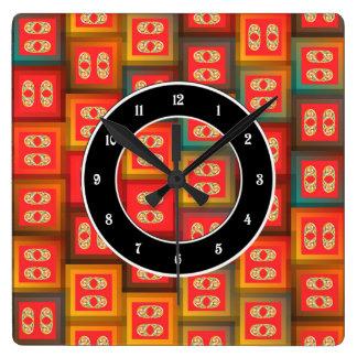 Relógio Quadrado Azulejos coloridos