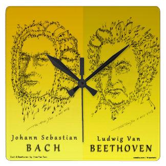 Relógio Quadrado Bach & Beethoven: Enfrente a música