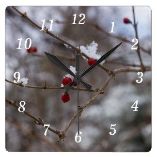 Relógio Quadrado Bagas nevadas