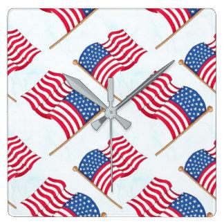 Relógio Quadrado Bandeira americana 4o do azul branco vermelho de