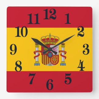 Relógio Quadrado Bandeira da espanha - Bandera de Espana