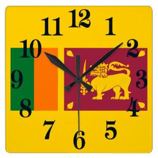 Relógio Quadrado Bandeira da ilha de Sri Lanka