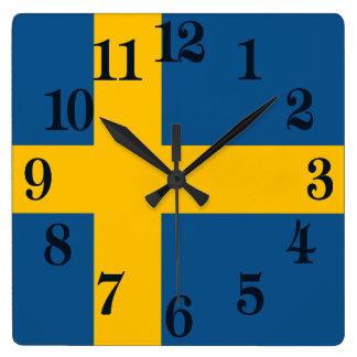 Relógio Quadrado Bandeira da suecia