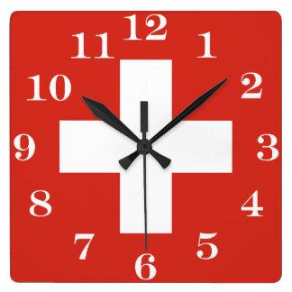 Relógio Quadrado Bandeira da suiça