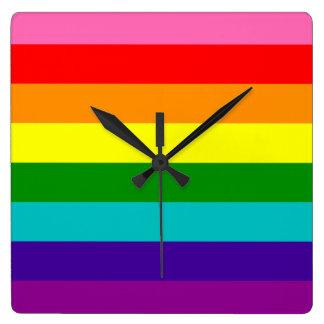 Relógio Quadrado Bandeira das listras do original 8 do orgulho gay