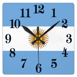 Relógio Quadrado Bandeira de Argentina