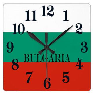 Relógio Quadrado Bandeira de Bulgária ou de búlgaro