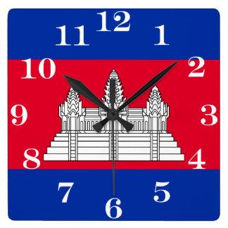 Relógio Quadrado Bandeira de Cambodia