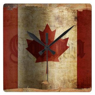 Relógio Quadrado Bandeira de Canadá/Grunge…