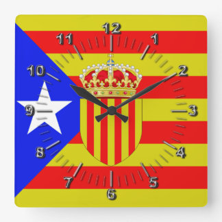 Relógio Quadrado Bandeira de Catalonia