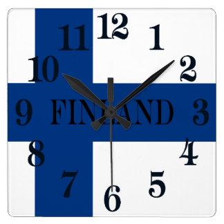 Relógio Quadrado Bandeira de Finlandia Suomi transversal azul