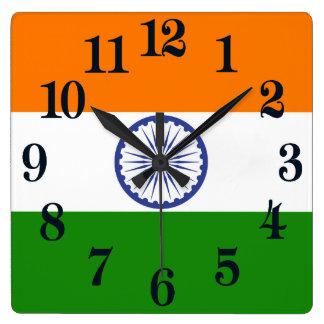 Relógio Quadrado Bandeira de India Ashoka Chakra