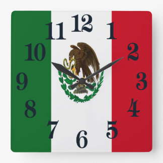 Relógio Quadrado Bandeira de México