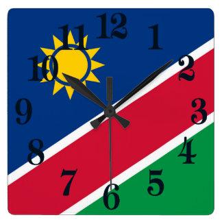 Relógio Quadrado Bandeira de Namíbia