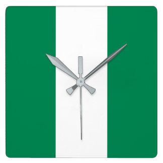 Relógio Quadrado Bandeira de Nigéria