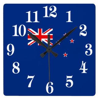 Relógio Quadrado Bandeira de Nova Zelândia