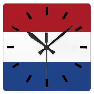 Relógio Quadrado Bandeira de Países Baixos