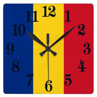 Relógio Quadrado Bandeira de Romania