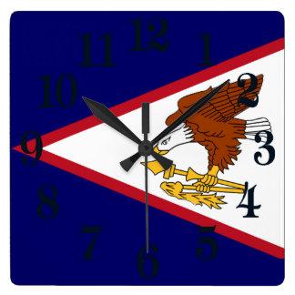 Relógio Quadrado Bandeira de Samoa Americanas