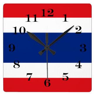 Relógio Quadrado Bandeira de Tailândia