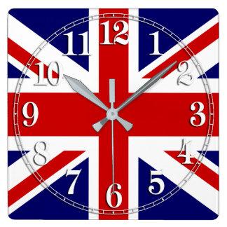 Relógio Quadrado Bandeira de Union Jack do Reino Unido