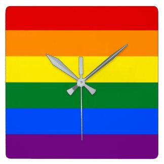 Relógio Quadrado Bandeira do arco-íris
