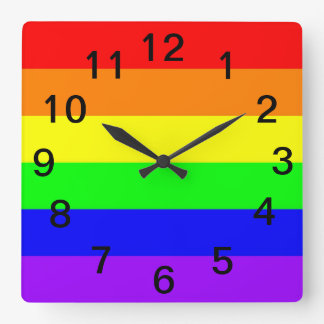 Relógio Quadrado Bandeira do arco-íris do orgulho gay de LGBT! Hora