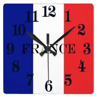Relógio Quadrado Bandeira do francês Tricolore de France
