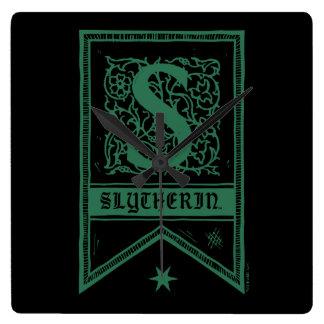 Relógio Quadrado Bandeira do monograma de Harry Potter | Slytherin
