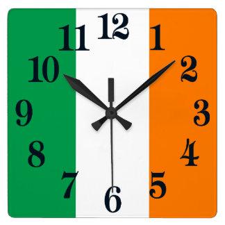 Relógio Quadrado Bandeira do trevo de Ireland